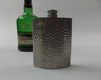 vintage pocket bottle, hip flask, pocket flask, English pewter - Sheffield