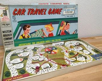 1958 Car Travel Board Game, Vintage Board Game, Travel Board Game, Milton Bradley, Kids Game, Kitsch, 1950s, Complete Board Game
