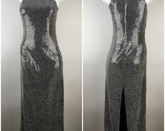ALL THAT JAZZ Silver Sequin Prom Dress Slinky Slit Disco Size 6 Slit Back Vintage 1980s 1990s Grunge Maxi Sleeveless Sparkle Glitter Long
