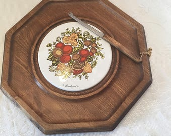 Wood and Tile Cheese Board ~ Attached Knife ~ Goodwood ~ Japan ~ Vintage