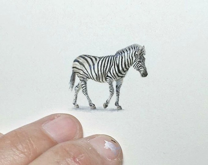 """Print of miniature painting of a Zebra. 1 1/4"""" x 1 1/4"""" print of original Zebra painting on 5"""" square german etching paper"""