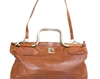handbag supple leather rust PIERRE CARDIN 1970s