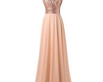 Modest V Neck Cap Sleeves Pleated Sequin Top Chiffon Skirt Prom Dress
