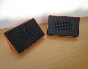 Old pair of loudspeaker Orange & Black 70s Vintage