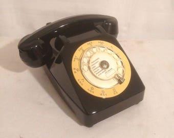Old Telephone set black & white Vintage Deco dial