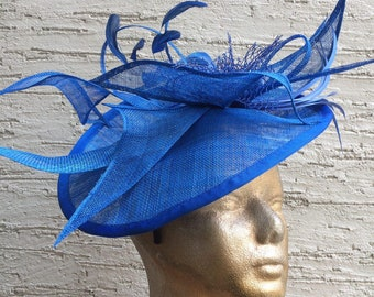 Elegant derby hat, Royal Blue hat, Royal Ascot fascinator, Kentucky derby headpiece, Elegant blue headpiece, Melbourne cup hat, wedding hat