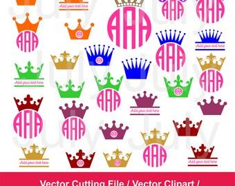 Princess Crown SVG Cut Files, Crown Monogram svg, dxf, ai, eps, png, Crown Clipart, Princess Crown Monogram Frame, Royal Svg