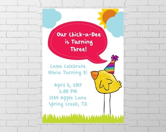 Chick Birthday Party / Boy Girl / Three Year Old / Spring / Printable Invitation / Digital Download Invite