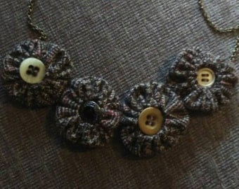 Tweed Suffolk Puff Necklace