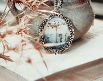 "Pendant with natural flowers ""Mirror in Winter""  / Vintage silver necklace / Flowers necklace / Vintage Pendant"