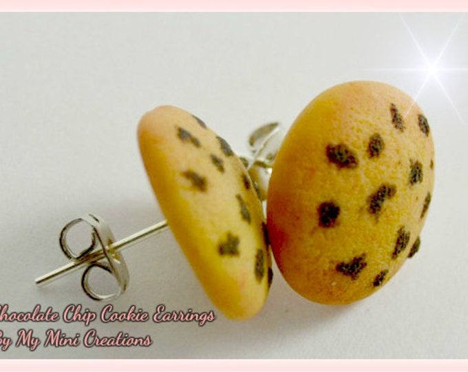 Chocolate Chip Cookie Stud Earrings, Polymer Clay, Miniature Food, Miniature Food Jewelry