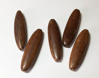 Exotic Wood Beads, Robles Large Flat Oval Pendant Focal Bead