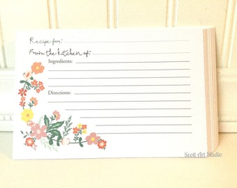 Recipe Cards, 4x6, Floral Themed, perfect add-on for any 4x6 recipe box