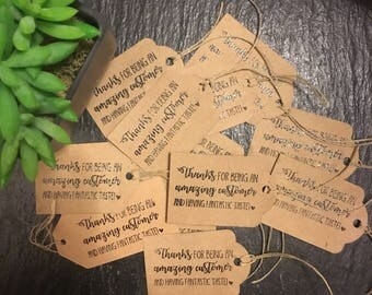 Handmade embossed thank you tags