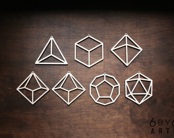 Dungeons and Dragons Geometric Dice Laser Cut Wood Ornament Set