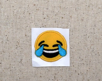 SMALL - Smiley Face - Emoji - Laughing with Tears - Iron on Applique - Embroidered Patch - 697123-SA