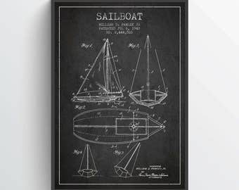 1948 Sailboat Patent Poster, Sailboat Poster, Sailboat Print, Patent Art Print, Patent Print, Blueprint, Home Decor, Gift Idea, NA09P