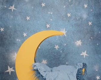Digital Newborn Backdrop Night Sky and Moon Prop. One of a kind prop!