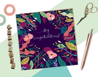 Congratulations Card - Pretty Floral card - Congrats - Cute Colourful Card - Cards for Her - well done card - Good Job Card - Proud of You