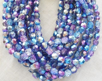 Lo t of 25 6mm multicolored purple, blue and silver Czech glass beads, firepolished faceted round beads C0625
