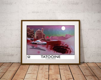 Star Wars Retro Poster in style of 1930s Railway Posters: Art  - Vintage Retro Star Wars Print - Tatooine