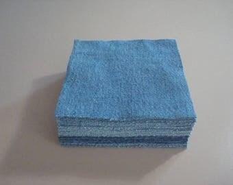 "5"" Denim Quilt Blocks-Set of 50 -Recycled Denim Blocks,Upcycled Denim Squares-Fabric-Precut-Hand Cut -Denim Blocks"