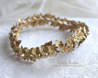 Bridal headpiece. Floral wreath. Bridal gold headpiece. Wedding headpiece. Bridal crown. Gold wreath. Style 608