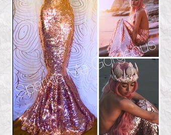 Mermaid Costume Adult - Rose Gold Oval Full Sequin High Waist Mermaid Tail