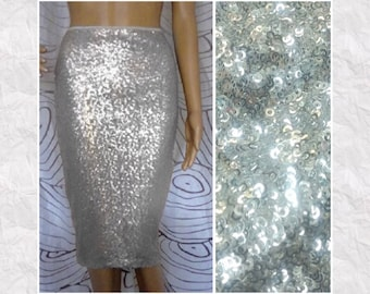 Sequin Pencil Skirt - Shiny Silver