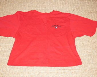 Vintage 1990's - Champion Crop Top - Red - Size Large - 90s fire engine red sports champion short t short sleeves L/XL