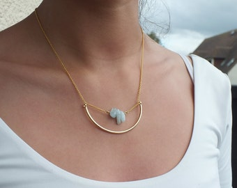 """Necklace """" APRIL """" / Golden or silvery / Chalcedony gemstones / Tan Tao Jewels"""