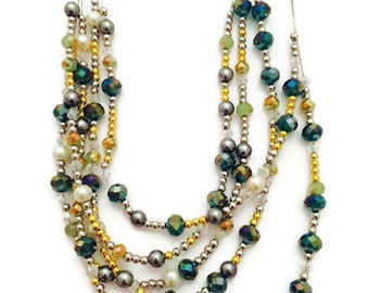 Multi Strand Beaded Necklace, Green and Gold Beaded Necklace, Beaded Bib Necklace, Beaded Collar Necklace