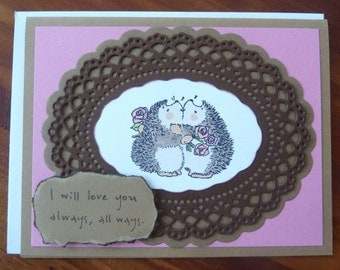 Love Card, Anniversary Card, Special Friend Card, Stamped Hedgehog Card, Just for You Card, I Love You Card, Paper Handmade Greeting Card,