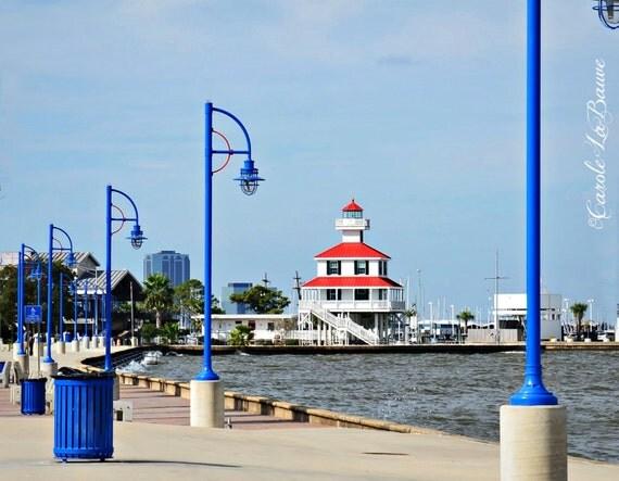 LAKE PONTCHARTRAIN LIGHTHOUSE ~ Lake Front Marina, New Orleans ~ Louisiana fine art ~
