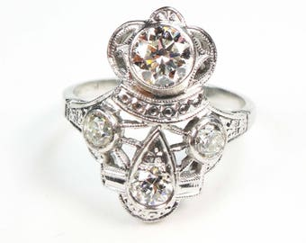 Vintage Diamond Ring Antique Platinum Diamond Ring Platinum Alternative Engagement Ring Platinum Diamond Old European Cut Diamond