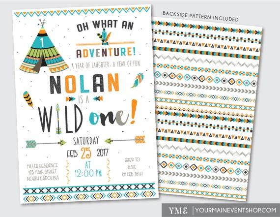 Wild One Tribal Birthday Invitation • Adventure Boy TeePee Arrow Feathers Arrow Pow Wow Invite Printable • Dreamcatcher Wild and Free