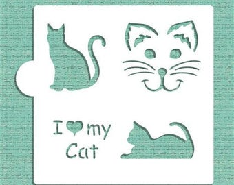 "I LOVE MY CAT  Stencil ""Designer Stencils"" 5"" x 5"""