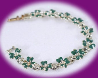 Vintage Coro Silver Enamel Bracelet Vintage Bracelet Enamel Braclet Bridesmaid Gift Mothers Gift Flower Braclet Silver Bracelet