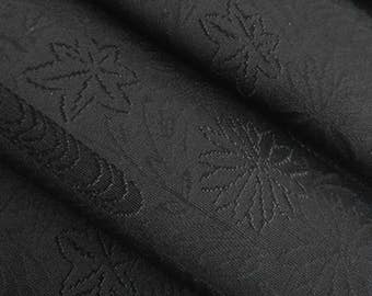 Black kimono fabric with woven mum and maple - by the yard