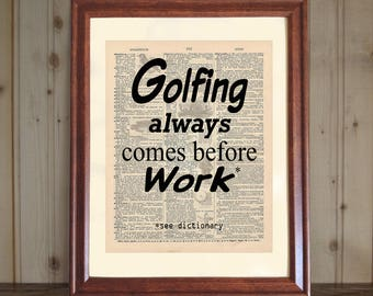 Golfing Dictionary Print, Golfer's Gift, Funny Golfing Quote, Golf Lover's Print, Quote about Golf, Golf Saying, Golf Print on Canvas Panel