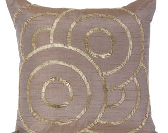 Light Brown Decorative Pillow Cover Brown Geometrical Pillow Cover Brown Gold Accent Pillow 14x14 16x16 18x18 20x20