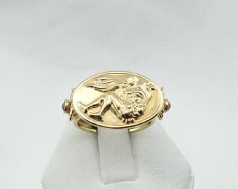 Unique Vintage 14K Yellow Gold And Ruby Cameo Ring  #FIGURE-SR