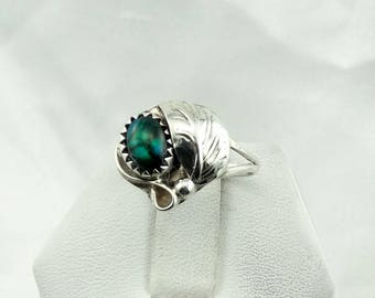 Unusual Green Opal Southwest Native American Sterling Silver Ring #GRNOPAL-SR4