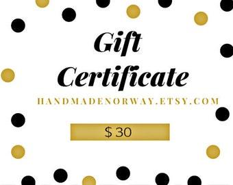 Gift Certificate, Printable Gift Card, Custom Gift Card, Last Minute Gift, Birthday Gift, Chrtistmas Gift