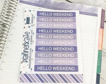 APR-62 || Hello Weekend Stickers for Planner - April EC Color Scheme (10 Removable Matte Stickers)