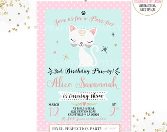 Kitten Birthday Invitation Kitty Cat Birthday Invitation Pink Gold Kitten Birthday Invitation Kitten Birthday Party Cat Birthday Party