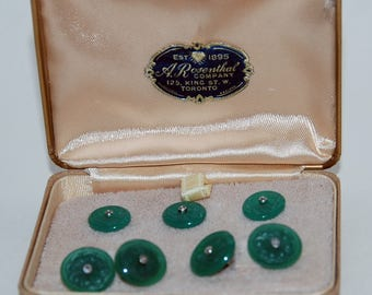 Genuine Vintage Formal Diamond Tuxedo Studs and Links Set -- Free Shipping!