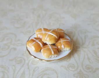 Dollhouse miniature food, easter hot cross buns, bread buns, seasonal holiday treats miniature scones in one inch scale