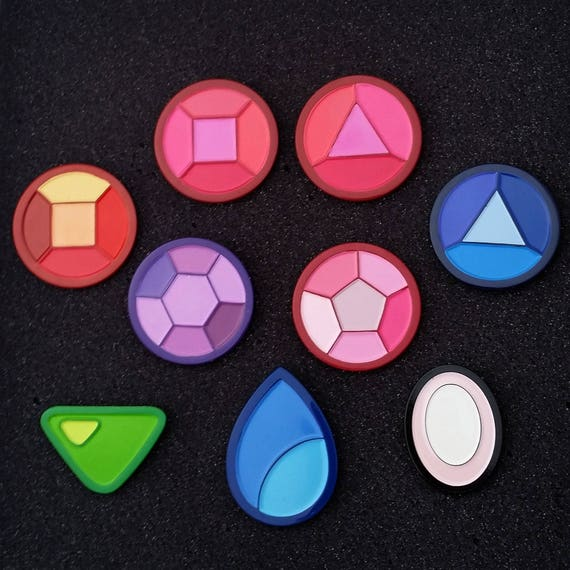 The ultimate gift for any Steven Universe fan, this 9-pin collection features all the Crystal Gems. Available as a full collection at 30% off their full retail value, these 1.25 soft enamel pins are a steal. Wear them all together to show the world that youre more than just a casual Steven