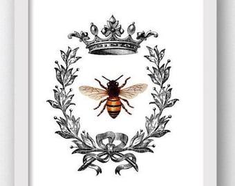 Bee Art, Bee Prints, Honey Bee Wall Print, Printable Bee Art, Printable Bees, Bee Crown, Queen Bee Print, Bees, Honey Bees, Bee Clipart